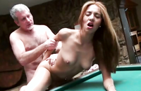 Mature dude ponds hottie on the pool table