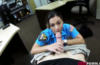 Blowjob by a hottie in a police uniform, she makes it really dirty
