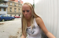 Hot blonde teen shows her pussy in a public place